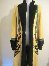 VGT Russian Designer Multi Color Suede Embroidered Shearling Coat - Size S