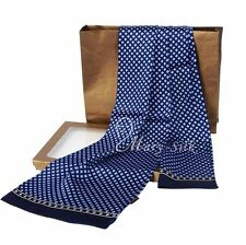 "Luxurious Mens 100% Silk Long Scarf/Cravat Double Layer 63""X12"" Blue●SC-LXG1021#"
