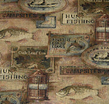 UPHOLSTERY FABRIC STARLIGHT MOSS LODGE CABIN RUSTIC FISHING HUNTING LANTERNS
