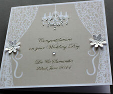 Handmade Personalised VINTAGE STYLE Congratulations Wedding Card /148mm square