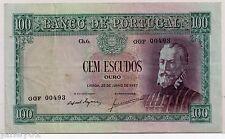 ~ PORTUGAL  100 Escudos Banknote - 1957 - P159 ~