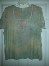 Suzee T Woman Vintage Look Roses Knit Top in Women's Plus size 16/18W GUC