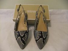 MICHAEL KORS Claudia Flat Black White Grey Leather Slingback Size 8 NIB $120