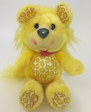 "1989 Kenner Yum Yums  Lemon Lion Plush 12"" Yellow Hallmark Purple Sparkle Nose"