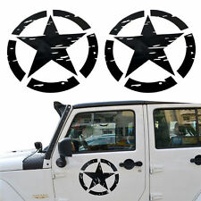 Pair 41x41cm Black US Army Military Star Truck Stickers Badges Decals For Jeep