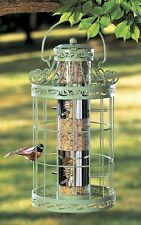 Bird Seed Feeder Easy Fill Green Squirrel Proof Metal Wild Birdfeeder Cage House
