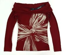 Isabel de Pedro Red Viscose-Lycra T-Shirt Oversize Neck Bow US4 EU38 $360 NWT