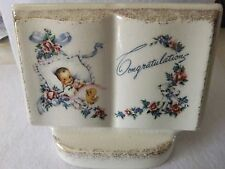 "Vtg BOOK of REMEMBRANCE  ""CONGRATULATIONS"" BABY BIRTH PLANTER ROYAL WINDSOR"","