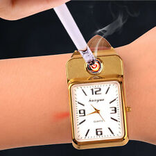 USB Charging Wrist Watch Electric Windproof Flameless Cigarette Lighter Golden