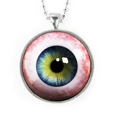 Spooky Human Taxidermy Eyeball Siver Glass Horror Halloween Pendant Necklace