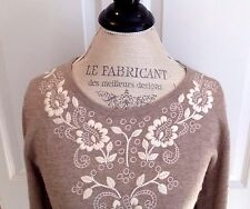 Garnet Hill NWT $188 Embroidered Sweater Large Lambswool Cashmere