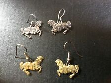 Two pair carousel horse earrings with french hook - gold tone & silver tone