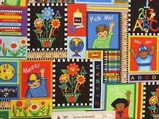 BACK TO SCHOOL Patch ABC 123 Pick Me! Children Cotton Fabric BTY  (M5) +