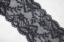 "2 yards BLACK galloon STRETCH floral lingerie lace headband 4"" wide"