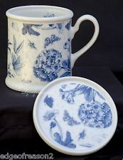 PORTMEIRION BOTANIC BLUE MUG AND COASTER FLORAL AND BUTTERFLIES