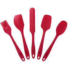 VonShef Baking Utensil Set Red Silicone Cooking 5 Piece Gadget Tool Spatula Pack