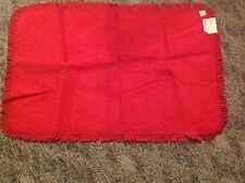 """Vtg 1940-50s Red  Cotton Chenille  Bath Rug Mat 36"""" x 22"""" w/ tags New old stock"""