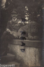 Soldier Officer Royal Artillery Rhine Army of Occupation seated on stone statue