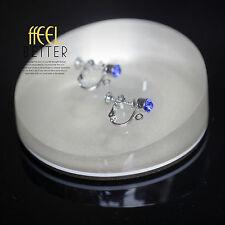 Clips a Vis Pour DIY Boucles d`Oreilles Argenté Cristal Bleu Original