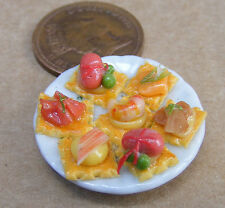 1:12 Small Sea Food H'orderves On A 2.5cm Ceramic Plate Dolls House Miniature
