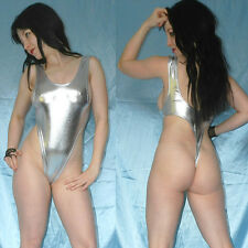 Alta piernas lackbody Shiny metalizado brillante * s plata stringbody * quisquilloso