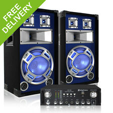 """2x Skytec 12"""" Blue LED Speakers + Amplifier + Cables Party DJ Disco System 1200W"""