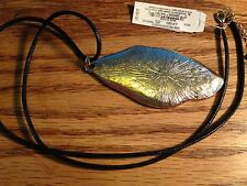 Lucky Brand Brown Leather & Gold & Rhinestone Pendant Necklace New Tags MSRP $39