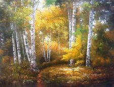 Huge Oil painting beautiful landscape with autumn forest free postage canvas