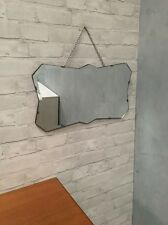 Vintage Bevelled Edge Wall Mirror 30 40s ArtDeco Stunning  Shape With Chain
