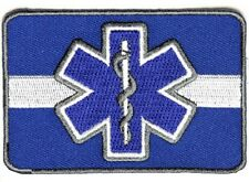 """(F19) WHITE LINE Blue Star Of Life 3.5"""" x 2.5"""" iron on patch (4608) EMT Medical"""