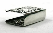 Antique Sterling Silver Matchbox Holder Cover Small Scroll Work Birmingham 1902