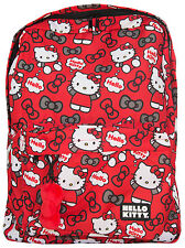 Hello Kitty Backpack Red Grey Bows All Over Print Loungefly Sanrio Licensed NEW