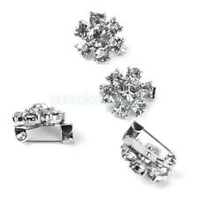 4pc Sparkly Silver Rhinestone Crystal Flower Scarf Clip Safety Pin Wreath