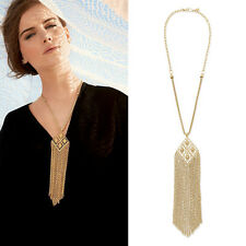 New Fashion Gold Plated Tassel Pendant Long Chain Sweater Necklace Jewellery