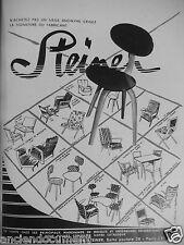 PUBLICITÉ 1954 STEINER MEUBLES FAUTEUILS SIÉGES CHAISES - ADVERTISING