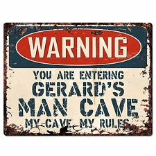 PP3437 WARNING ENTERING GERARD'S MAN CAVE Chic Sign Home Decor Funny Gift