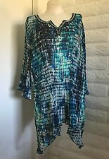 NEW  Catherines 4X Turquoise Beads Shark Bite Hem Founcy 3/4-Sleeve Tunic Blouse