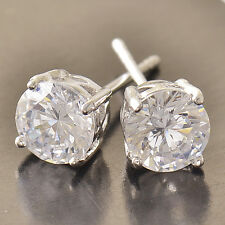 Classy 9K Silver/White Gold Filled CZ Mens Stud Earrings,No Allergy,Z4452