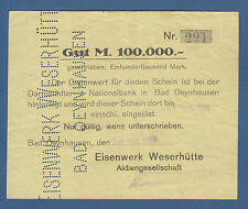 Bad OEYNHAUSEN Eisenwerk Weserhütte 100.000 Mark 24.8.1923  III / VF