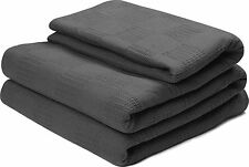 Cotton Throw Blankets (Queen/Full, Smoke Grey) Breathable Thermal Bed/Sofa Blank