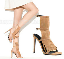 $650 GUCCI SHOES BECKY BEIGE SUEDE FRINGED HIGH HEEL SANDAL sz 38.5 / 8.5