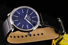 Invicta Mens I-Force Coin Ultra Slim Series Blue Dial Genuine Leather Strap Watc