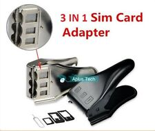 NERO 3 in 1 SIM MICRO NANO SIM CARD CUTTER UNIVERSALE PER IPHONE 6 5 4 4S IPAD