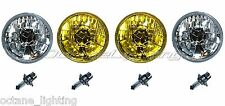"5-3/4"" Halogen Crystal Clear Headlight Amber Yellow Glass Fog H4 Light Bulbs Set"