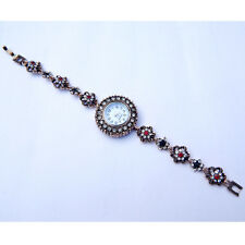 Turkish Victorian Garnet Stone 925 Sterling Solid Brass Bracelet Watch