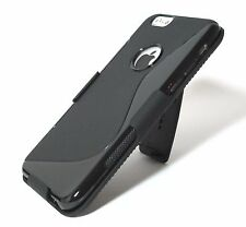 Black Slim Soft TPU Gel Case with Belt Clip Holster for iPhone 6 & 6s 4.7""