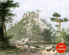 MAYAN TEMPLE OF CHICHEN ITZA MEXICO CATHERWOOD PAINTING ART REAL CANVAS PRINT