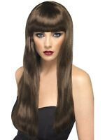Adult Brown Party Wig Beauty Wig Brown Long Straight Fringe Fancy Dress BN
