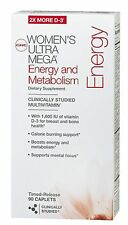 GNC Women's Ultra Mega Energy and Metabolism 90 Caps - Time-release Multivitamin