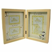 BUTTON CORNER BABY SCAN & FIRST DOUBLE SIDED WOODEN TRIPLE PHOTO FRAME BABY GIFT